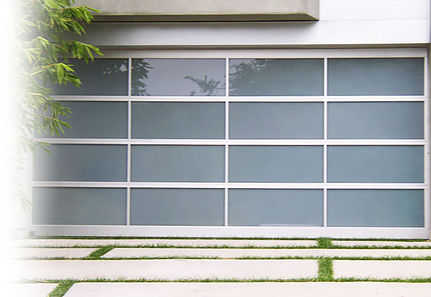 glass and steel garage doors